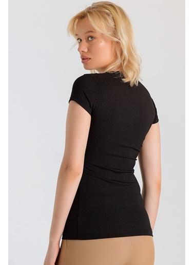 Jument Frida Kaşkorse Dantelli Sıfır Yaka Kısa Kol Bluz Siyah